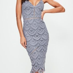 Grey midi lace dress